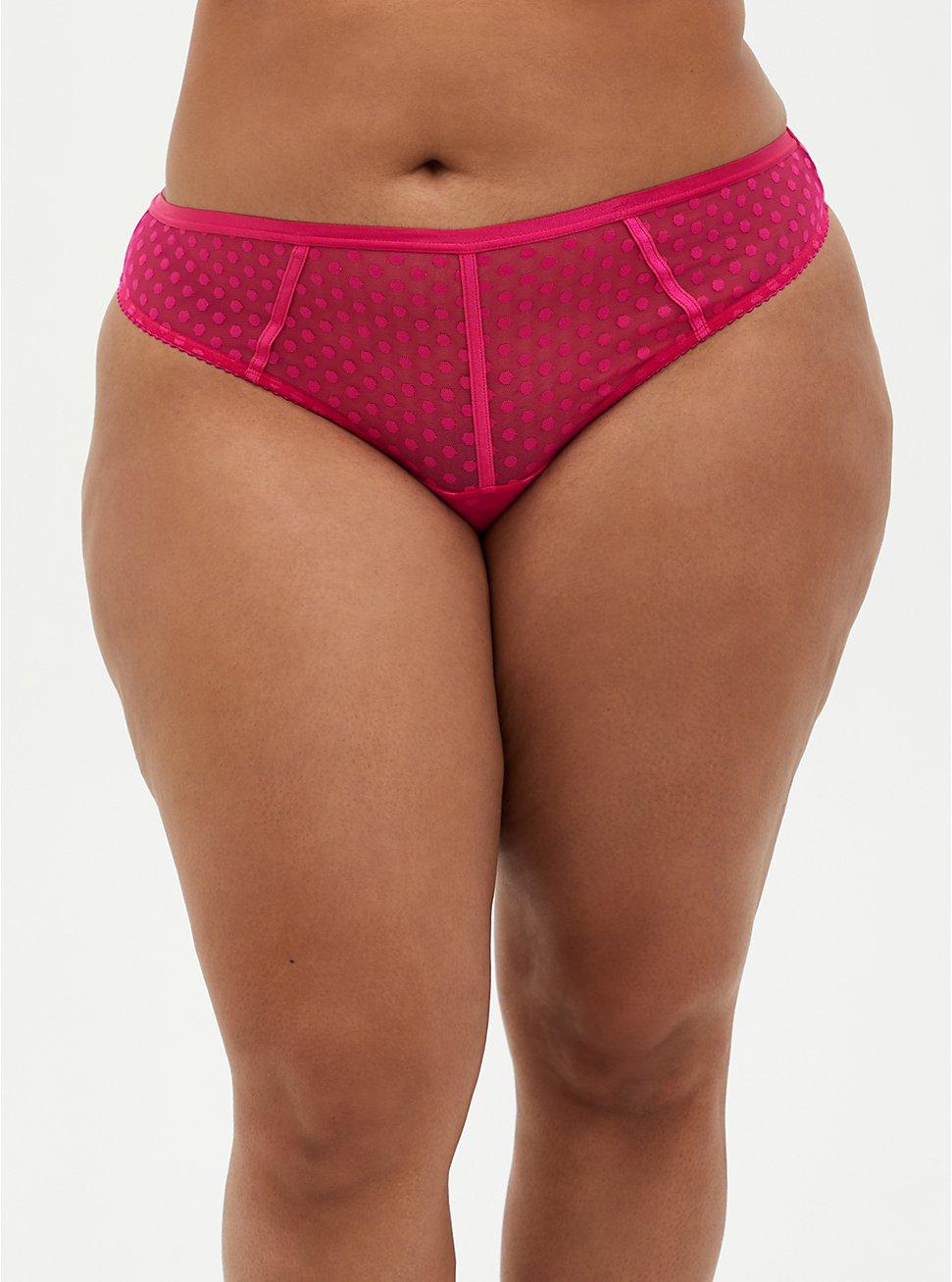 Pink Dot Mesh Cut Out Thong Panty, BEET ROOT PINK, hi-res