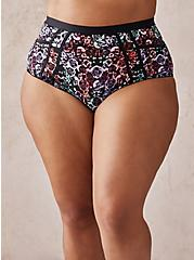 Mirrored Skull Microfiber & Lace Cut Out High Waist Panty, MIRRORED SKULL FLORAL, hi-res