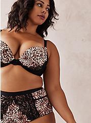 Leopard Microfiber & Lace Cut Out High Waist Panty, MYSTIC LEOPARD FESTIVAL FUSCHIA PINK, alternate