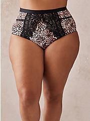 Leopard Microfiber & Lace Cut Out High Waist Panty, MYSTIC LEOPARD FESTIVAL FUSCHIA PINK, hi-res