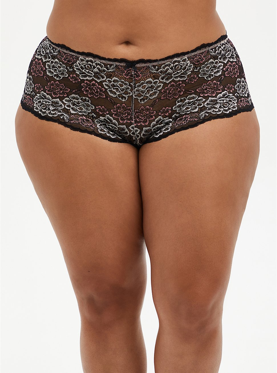 Black Pink Lace Cheeky Panty, FADED FLORAL, hi-res
