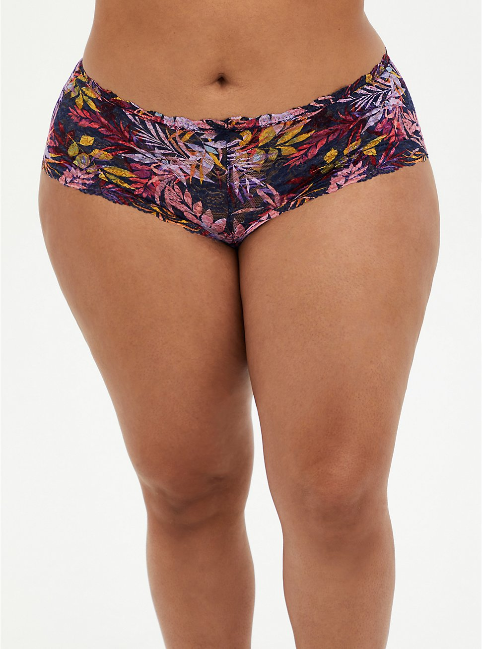 Floral Lace Cheeky Panty, MULTIPLIED FRONDS NAVY, hi-res