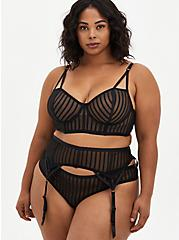 Black Striped Mesh Cut Out Thong Panty, RICH BLACK, alternate