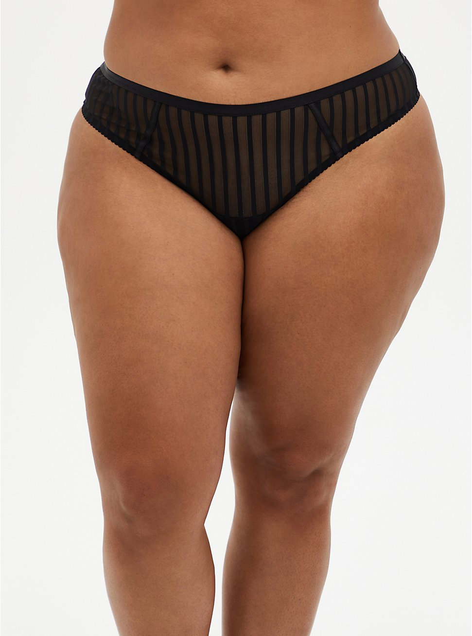 Black Striped Mesh Cut Out Thong Panty, RICH BLACK, hi-res