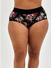 Black Floral Second Skin Brief Panty, FLORAL DISPERSE, hi-res