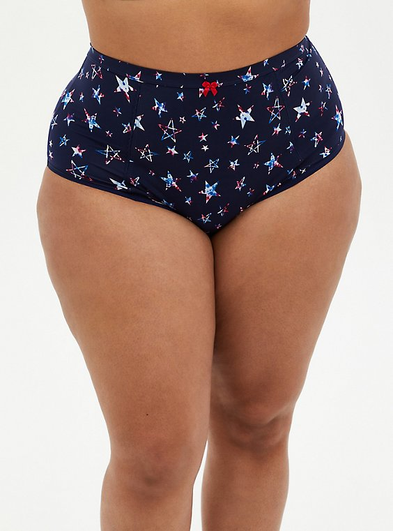 Navy Stars Microfiber High Waist Panty, FUNKY STARS NAVY, hi-res