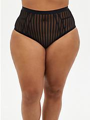 Black Striped Mesh Cut Out High Waist Panty, RICH BLACK, hi-res