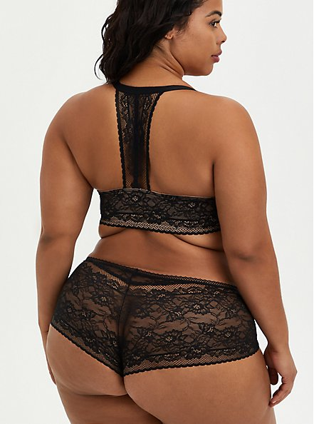 Plus Size Cheeky Panty - Lace Black, RICH BLACK, alternate