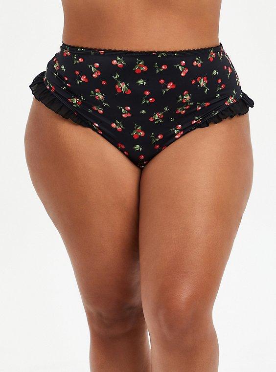 Black Cherries Ruffle Highwaist Panty, , hi-res