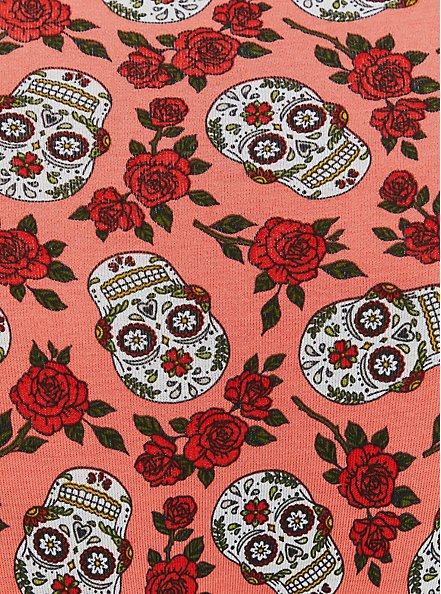 Coral Skull Floral Wide Lace Cotton High Waist Panty, DITSY MUERTOS CORAL, alternate