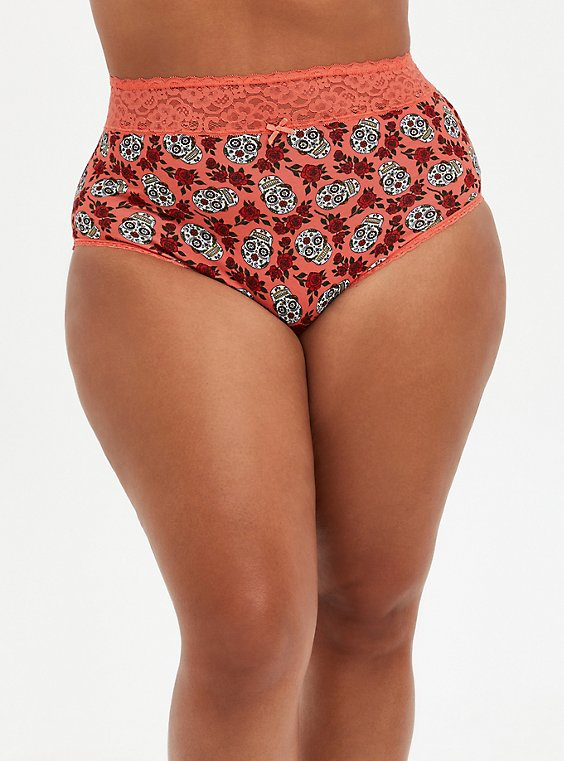Coral Skull Floral Wide Lace Cotton High Waist Panty, DITSY MUERTOS CORAL, hi-res