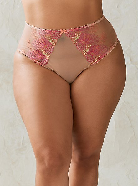 High Waist Panty - Embroidered Mesh Pink, NUDE, hi-res