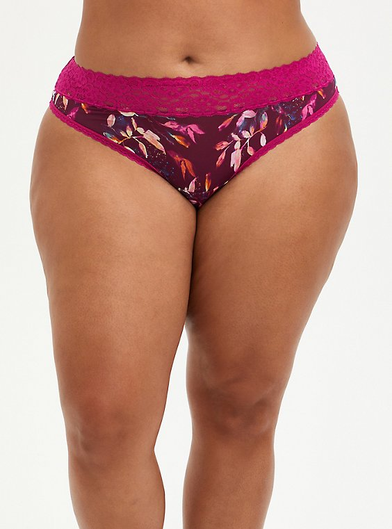 Fuchsia Water Leaves Second Skin Thong Panty, , hi-res