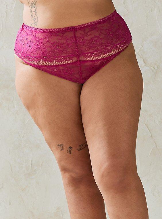 High Waist Thong Panty - Lace Fuchsia, FESTIVAL FUSCHIA, hi-res