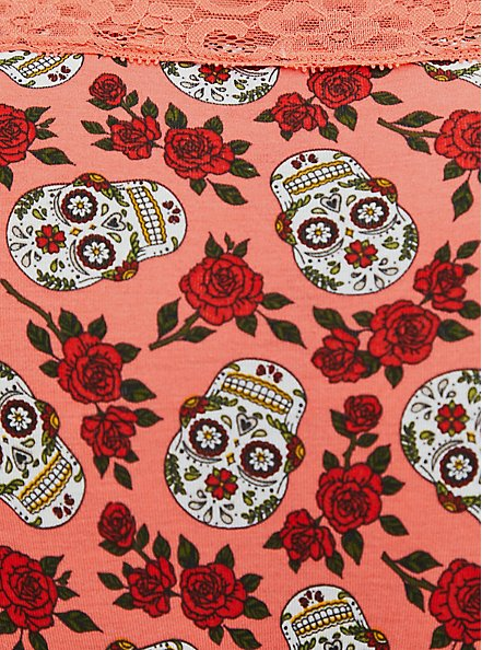 Coral Skull Floral Wide Lace Cotton Cheeky Panty, DITSY MUERTOS CORAL, alternate