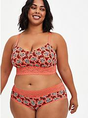 Plus Size Coral Skull Floral Wide Lace Cotton Cheeky Panty, DITSY MUERTOS CORAL, alternate