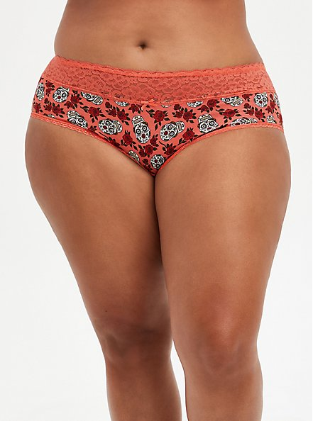 Coral Skull Floral Wide Lace Cotton Cheeky Panty, DITSY MUERTOS CORAL, hi-res