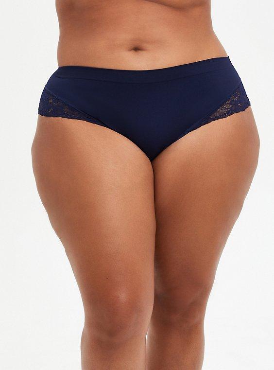 Navy Lace Seamless Flirt Hipster Panty, PEACOAT, hi-res