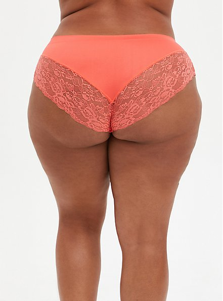 Coral Lace Seamless Flirt Hipster Panty, FUSION CORAL, alternate