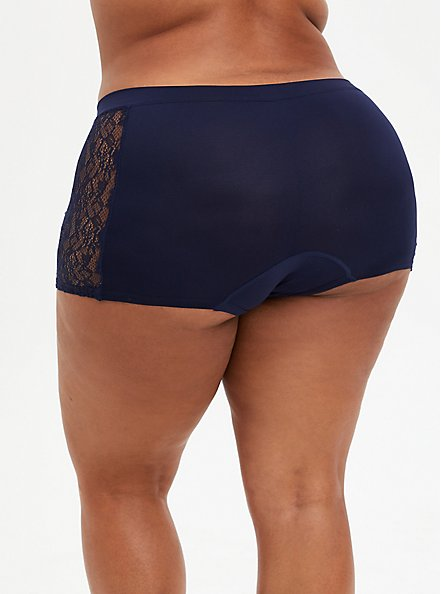 Navy Lace Seamless Flirt Boyshort Panty, , alternate