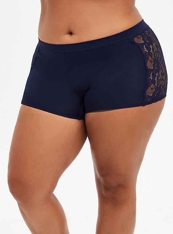 Navy Lace Seamless Flirt Boyshort Panty, , hi-res