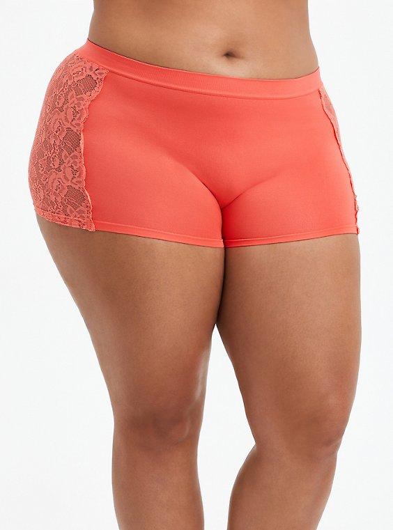 Seamless Flirt Boyshort Panty - Lace Sides Coral , FUSION CORAL, hi-res
