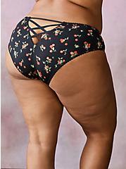 Black Cherries Cage Back Second Skin Hipster Panty, CHERRIES BLACK, hi-res
