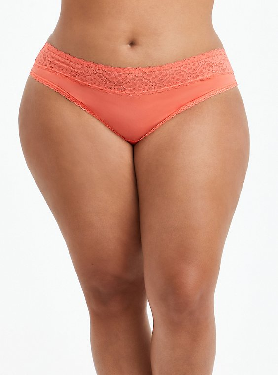 Second Skin Thong Panty - Lace Coral, LIVING CORAL, hi-res
