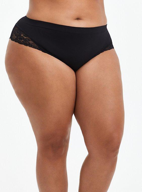 Flirt Hipster Panty - Lace + Seamless Black, , hi-res