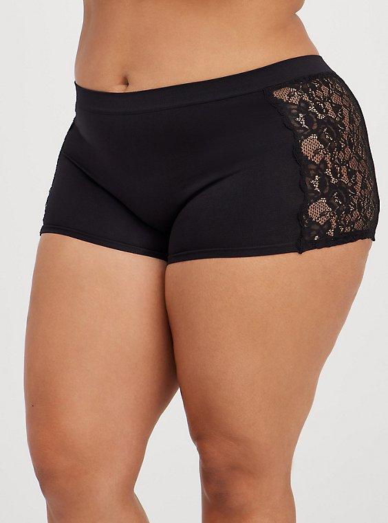 Black Lace Seamless Flirt Boyshort Panty, , hi-res