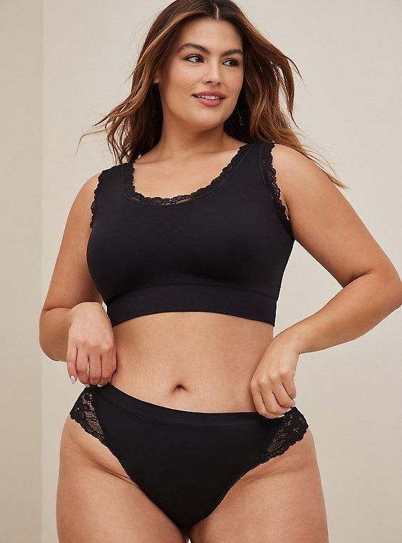 Black Lace Seamless Flirt Thong Panty, , hi-res