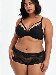 Lattice Back Cheeky Panty - Lace Black, RICH BLACK, alternate