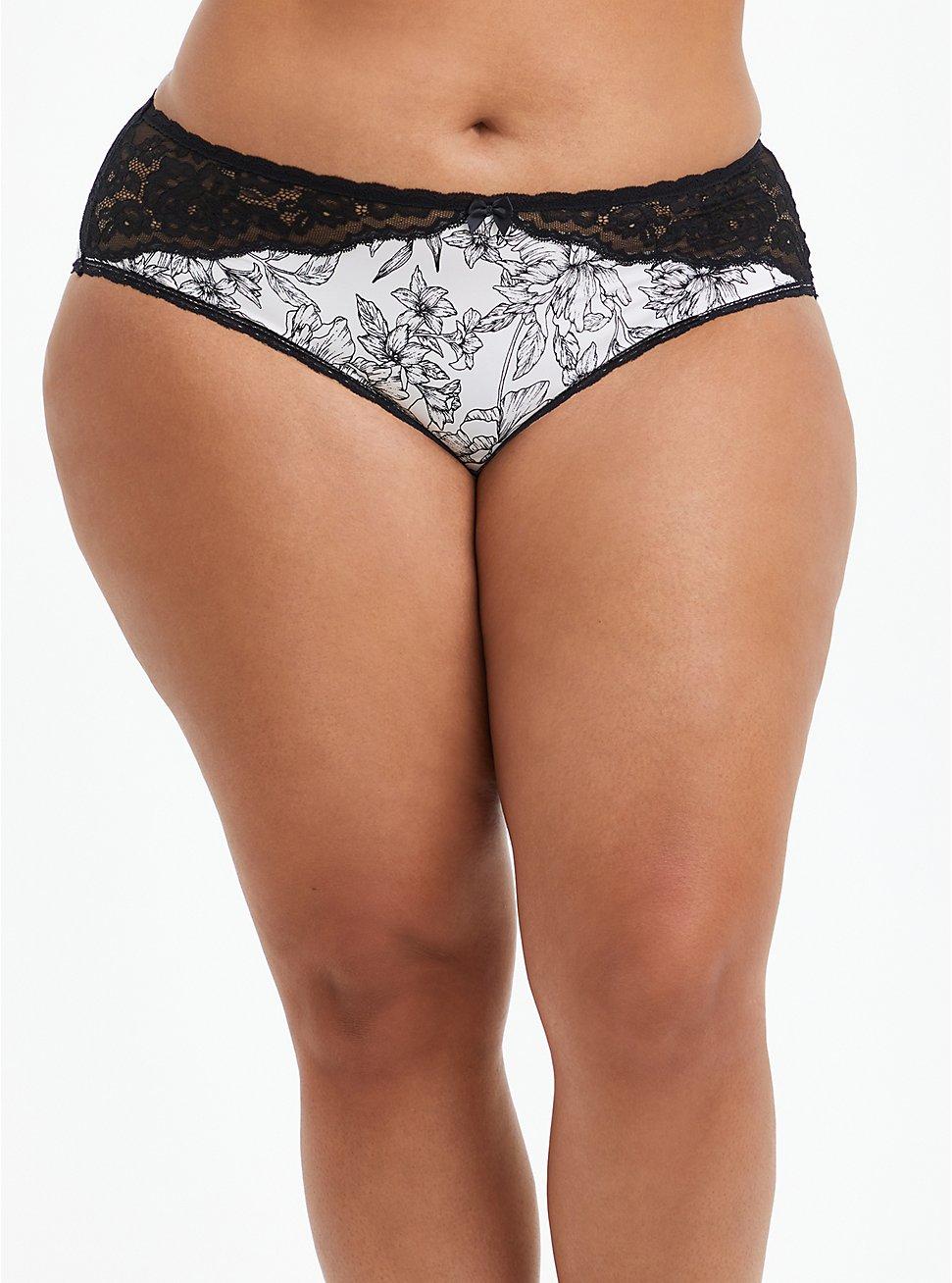 Hipster Panty - Microfiber Floral Black & White , SKETCHBOOK FLORAL WHITE, hi-res