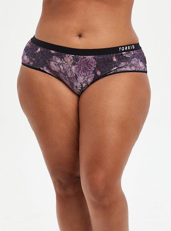 Active Hipster Panty - Microfiber Floral Black, WANDERING FLORIST, hi-res