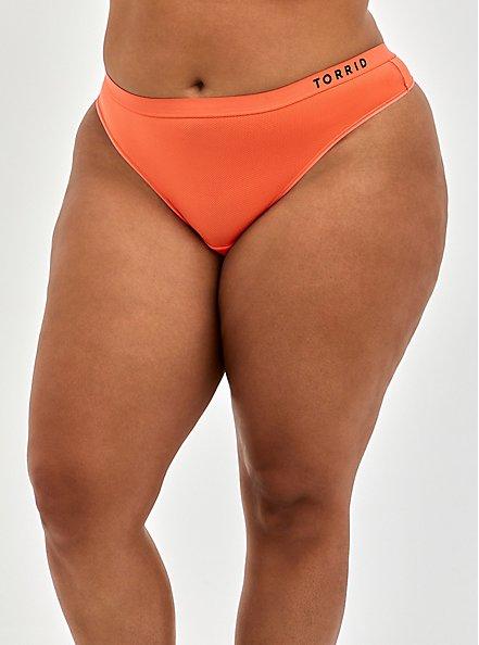 Torrid Logo Microfiber Active Thong Panty, LIVING CORAL, hi-res