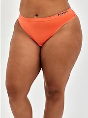 Plus Size Torrid Logo Microfiber Active Thong Panty, LIVING CORAL, hi-res
