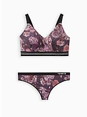Plus Size Active Thong Panty - Microfiber Floral Black, , alternate