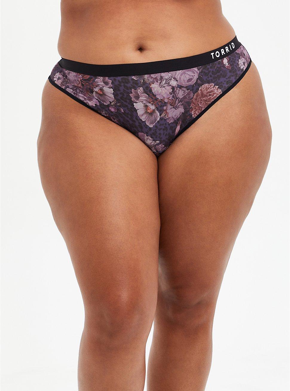 Plus Size Active Thong Panty - Microfiber Floral Black, , hi-res