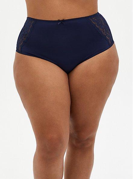 Navy Microfiber & Lace Brief Panty, PEACOAT, hi-res