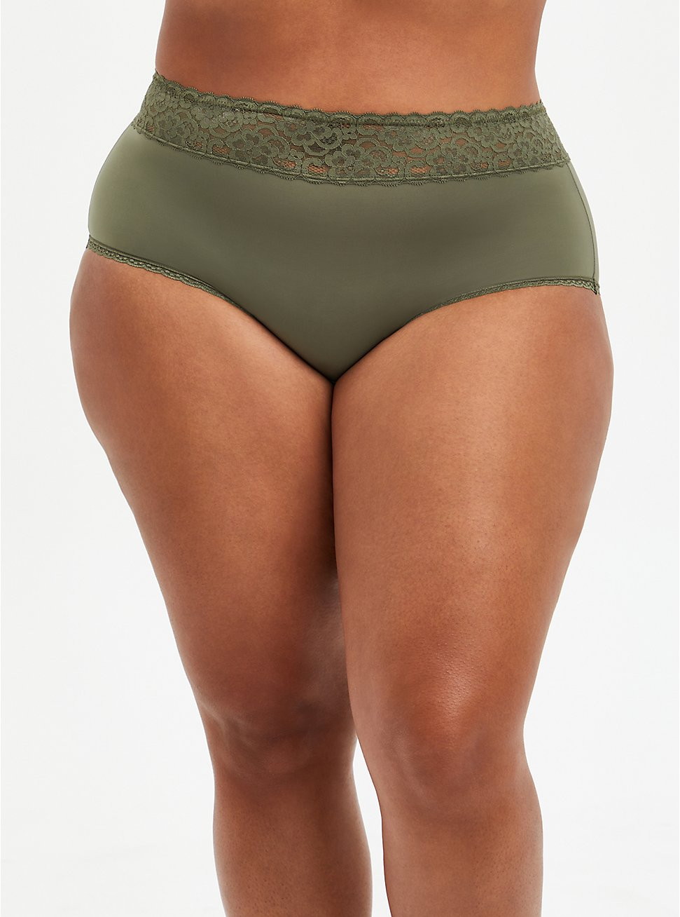 Plus Size Wide Lace Trim Brief Panty - Second Skin Olive, DUSTY OLIVE, hi-res