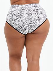 High Waist Panty - Microfiber Floral Black & White , SKETCHBOOK FLORAL WHITE, alternate