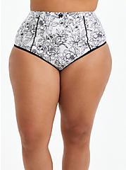 High Waist Panty - Microfiber Floral Black & White , SKETCHBOOK FLORAL WHITE, hi-res