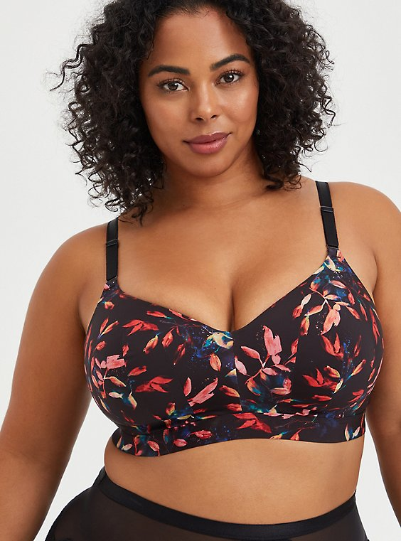 Lightly Lined Longline Wire-Free Bra - Leaves Black with 360° Back Smoothing™ , LEAVES - MULTI, hi-res