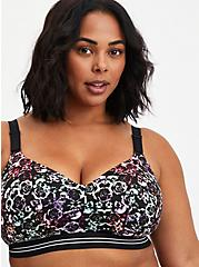 Lightly Lined Wire-Free Active Sports Bra - Skull with 360° Back Smoothing™️, MIRRORED SKULL FLORAL, hi-res