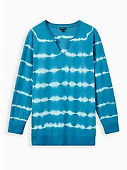 Teal Tie Dye Notch Neck Sweatshirt, OTHER PRINTS, hi-res