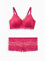 Lightly Lined Lace Wire-Free Bra - Pink with 360° Back Smoothing™, FESTIVAL FUSCHIA, alternate