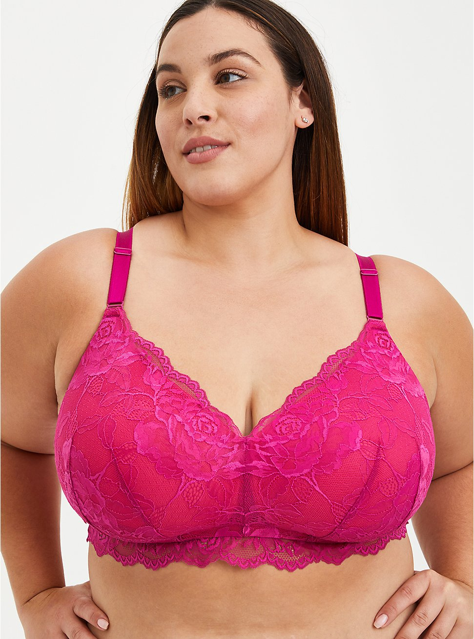 Lightly Lined Lace Wire-Free Bra - Pink with 360° Back Smoothing™, FESTIVAL FUSCHIA, hi-res