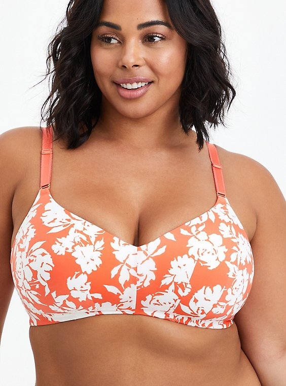 Lightly Lined Wire-Free Bra - Microfiber Floral Coral with 360° Back Smoothing™, SILHOUETTE FLORAL, hi-res