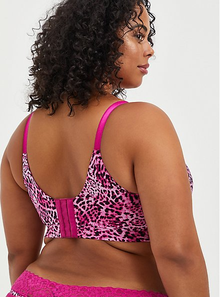 Lightly Lined Longline Wire-Free Bra - Leopard Fuchsia with 360° Back Smoothing™, LEOPARD, alternate