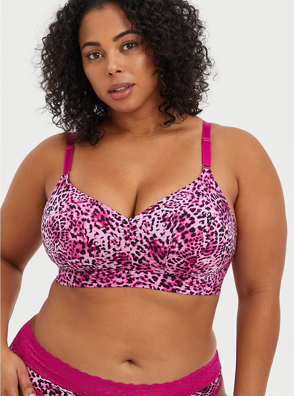 Lightly Lined Longline Wire-Free Bra - Leopard Fuchsia with 360° Back Smoothing™, LEOPARD, hi-res
